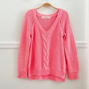 Zara High-Low Neon Pink Coral V-Neck Sweater M